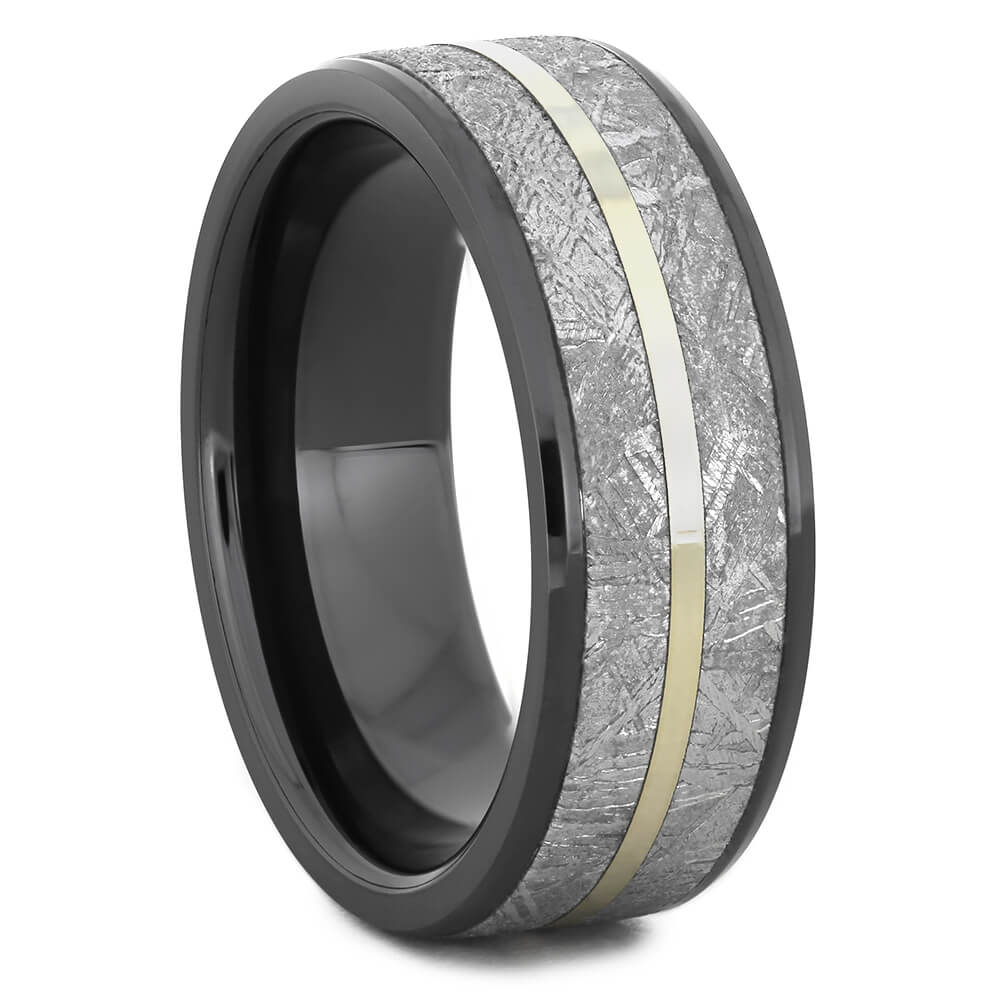 Black Ceramic Ring with White Gold Pinstripe and Gibeon Meteorite-1667 - Jewelry by Johan