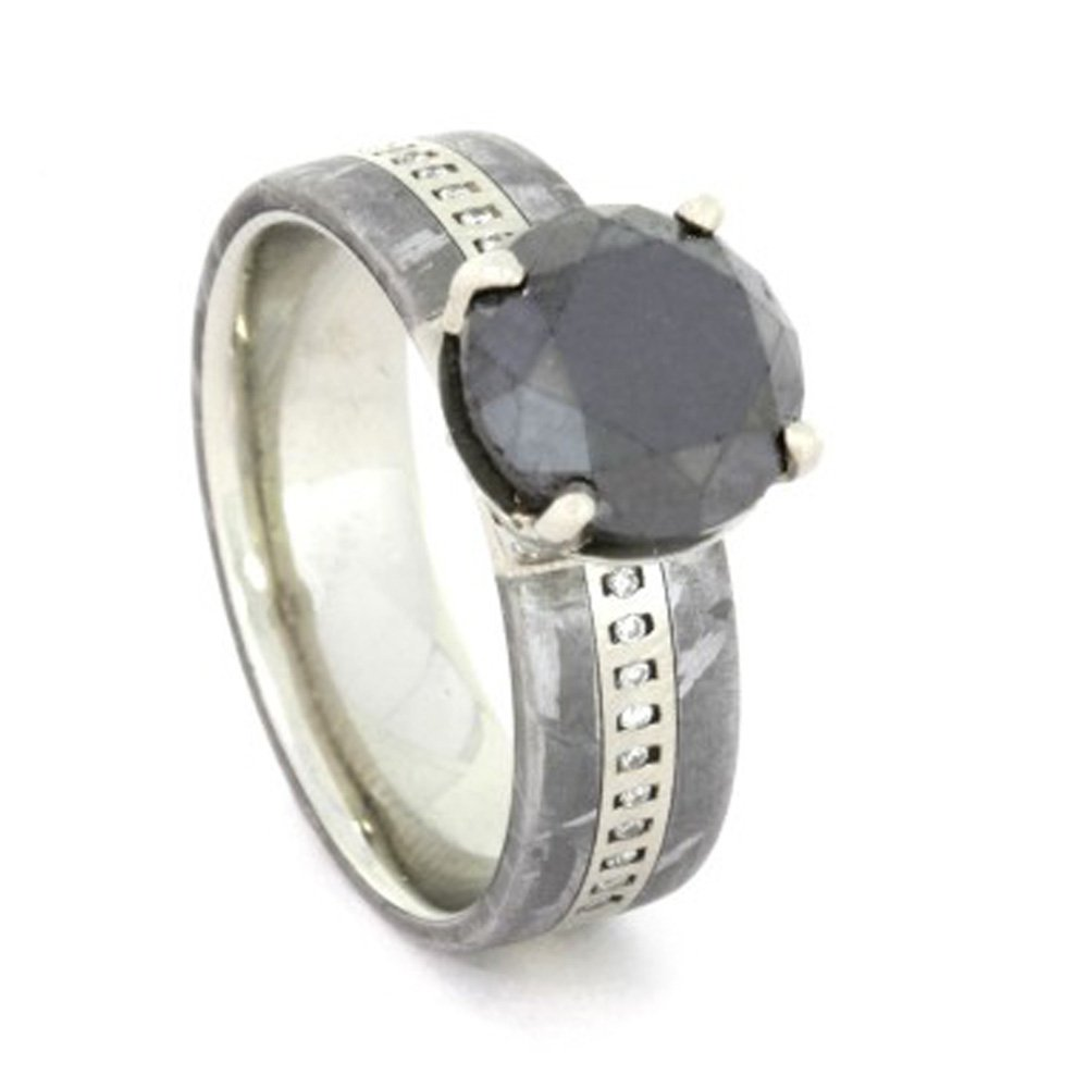 Round Cut Black Diamond Engagement Ring, White Gold and Meteorite
