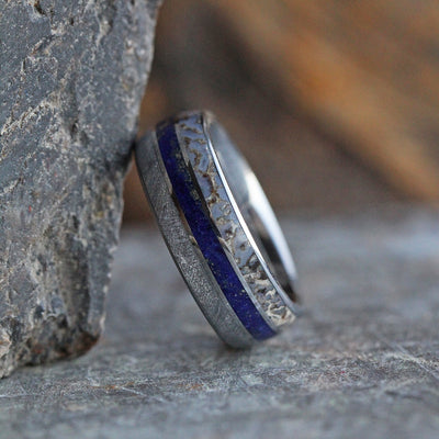 Meteorite Ring With Dinosaur Bone And Lapis Lazuli In Titanium-2172 - Jewelry by Johan