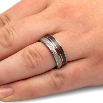Meteorite Wedding Band With Dinosaur Bone-1696 - Jewelry by Johan