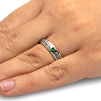 White Gold Ring with Heart Shaped Emerald and Meteorite-1701 - Jewelry by Johan