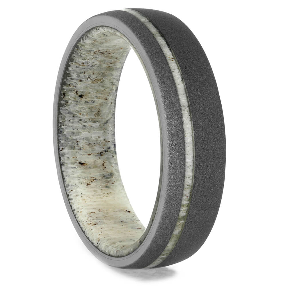Sandblasted Titanium Wedding Band with Antler Sleeve-3946 - Jewelry by Johan