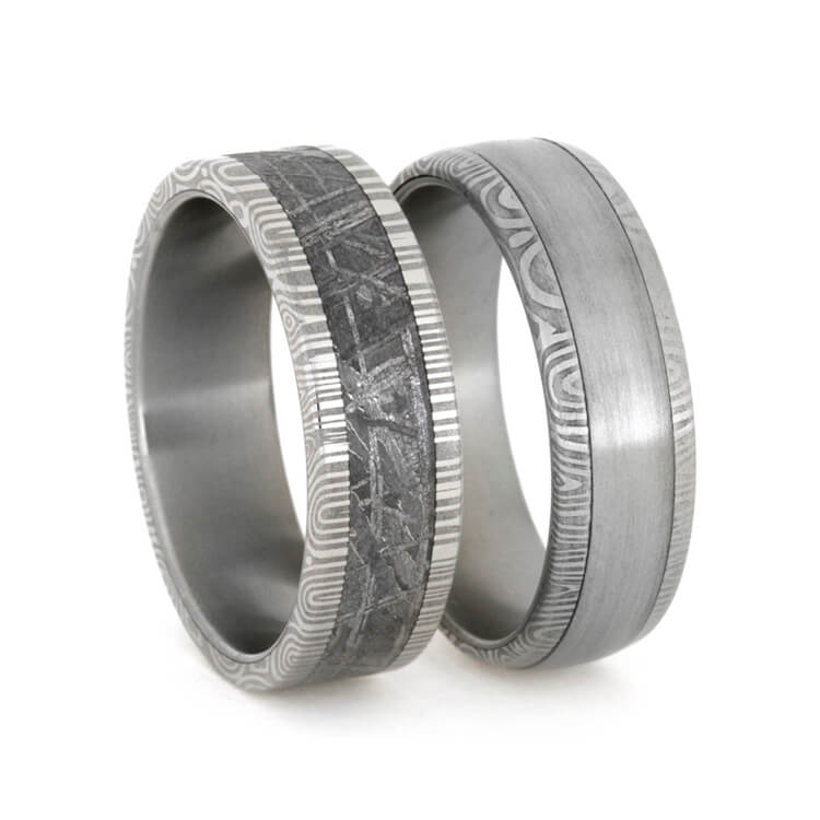 Damascus Wedding Bands with Steel and Meteorite, Wedding Rings-1791 - Jewelry by Johan