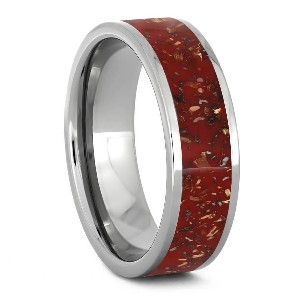 Red Stardust and Polished Titanium Wedding Band