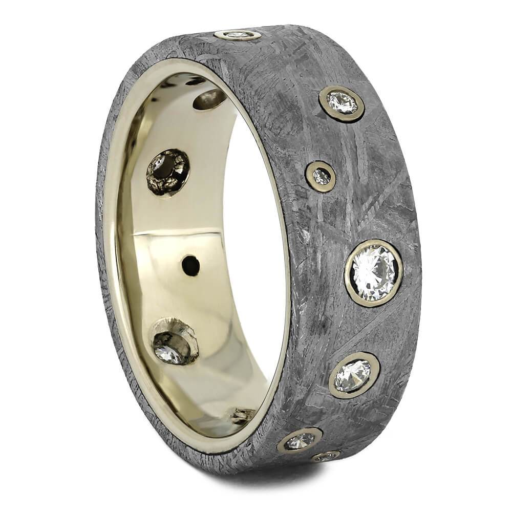 Meteorite Wedding Band With Diamonds in White Gold-1708 - Jewelry by Johan
