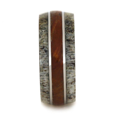 Titanium Ring With Deer Antler And Petrified Wood-2927 - Jewelry by Johan