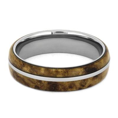 Titanium and Black Ash Burl Wedding Band