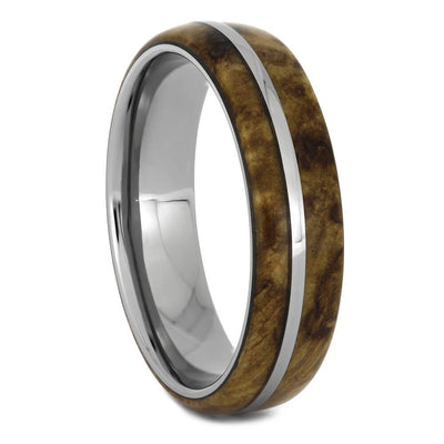 Black Ash Burl Wood Ring with Titanium Sleeve