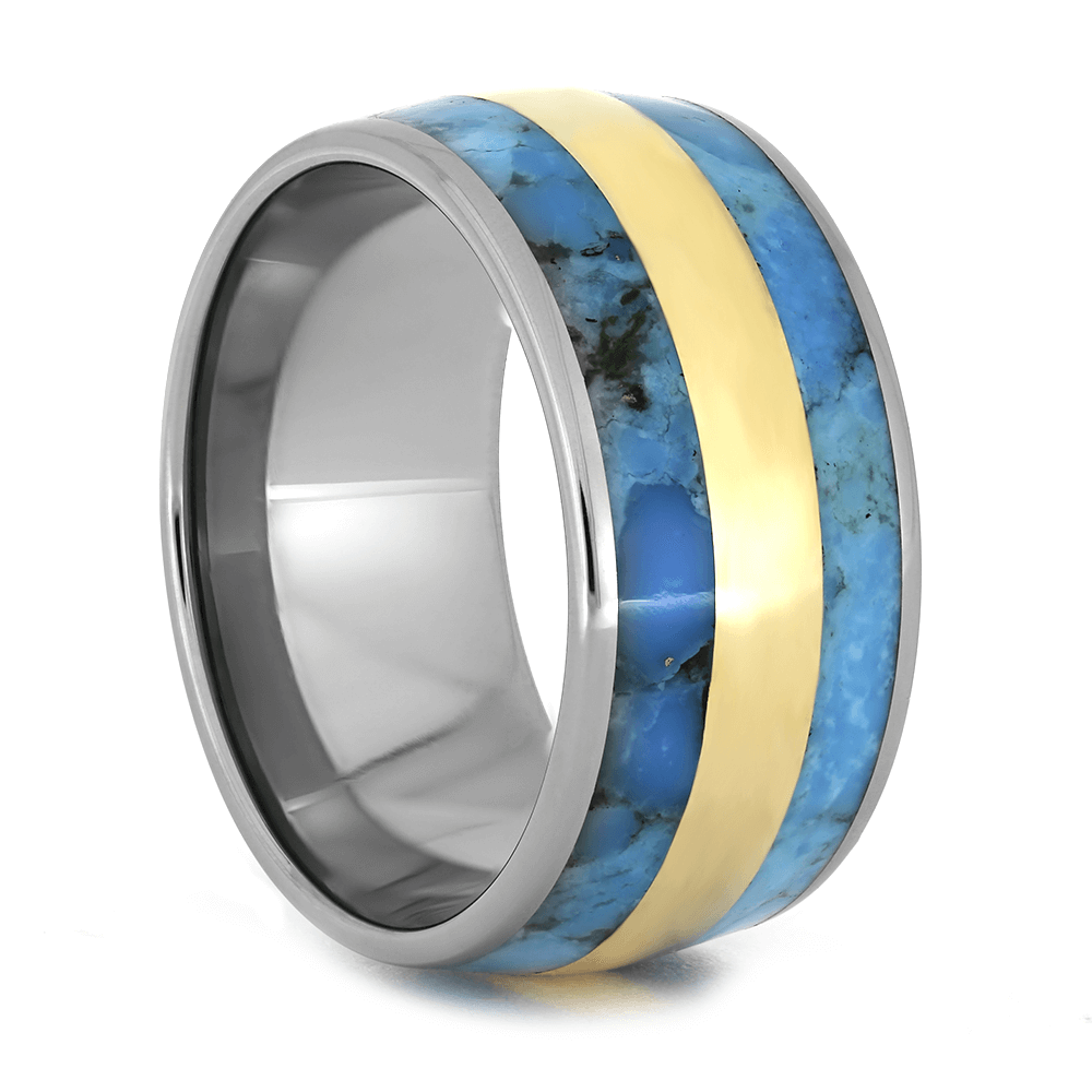 Titanium Wedding Band With Turquoise And Yellow Gold Inlay-1719 - Jewelry by Johan