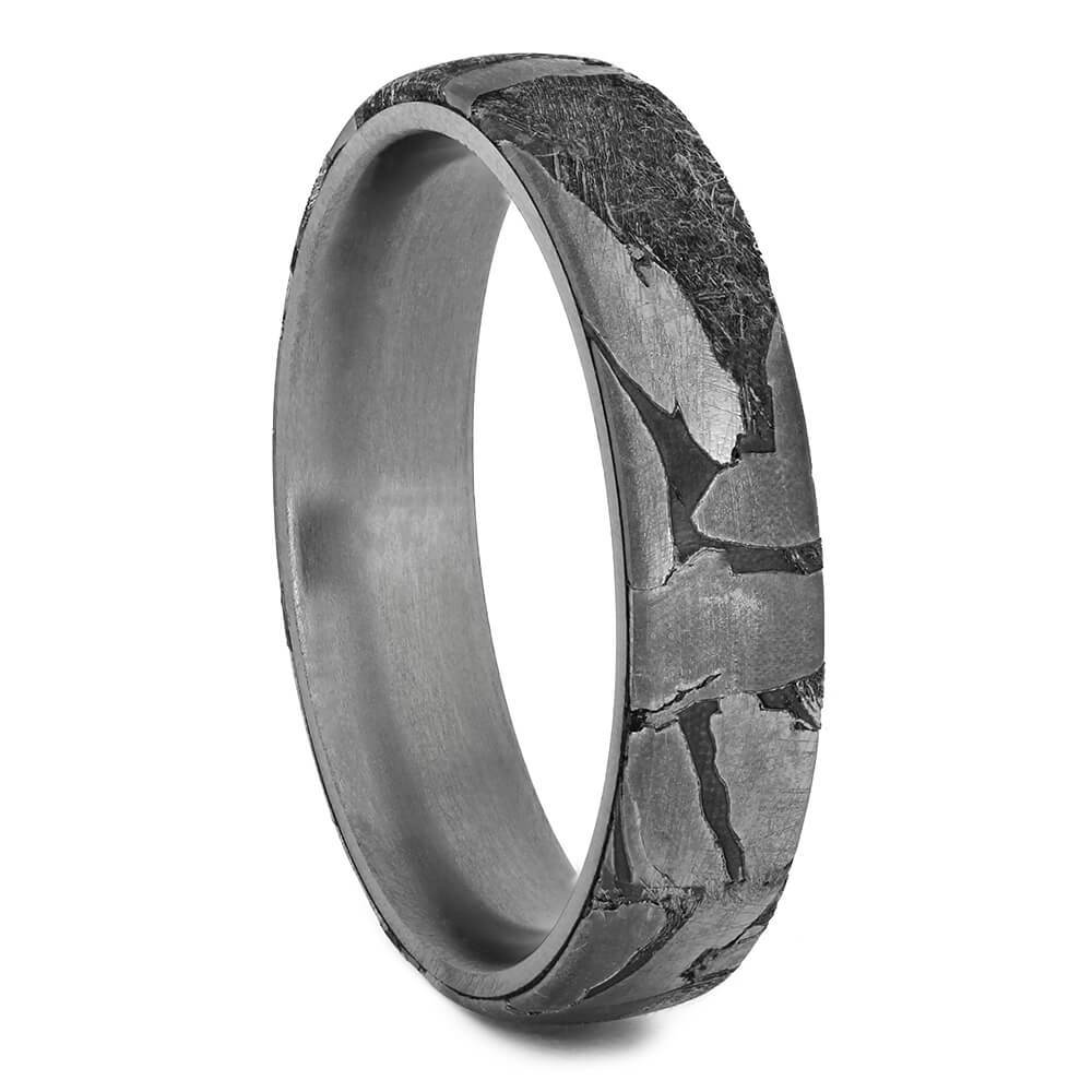 Seymchan Meteorite Men's Wedding Band Over Titanium Ring-1721 - Jewelry by Johan