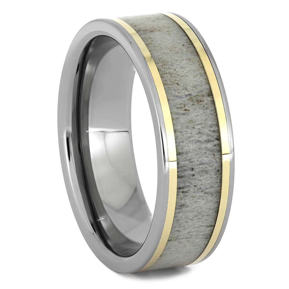 Titanium and Antler Wedding Band with Yellow Gold Accent