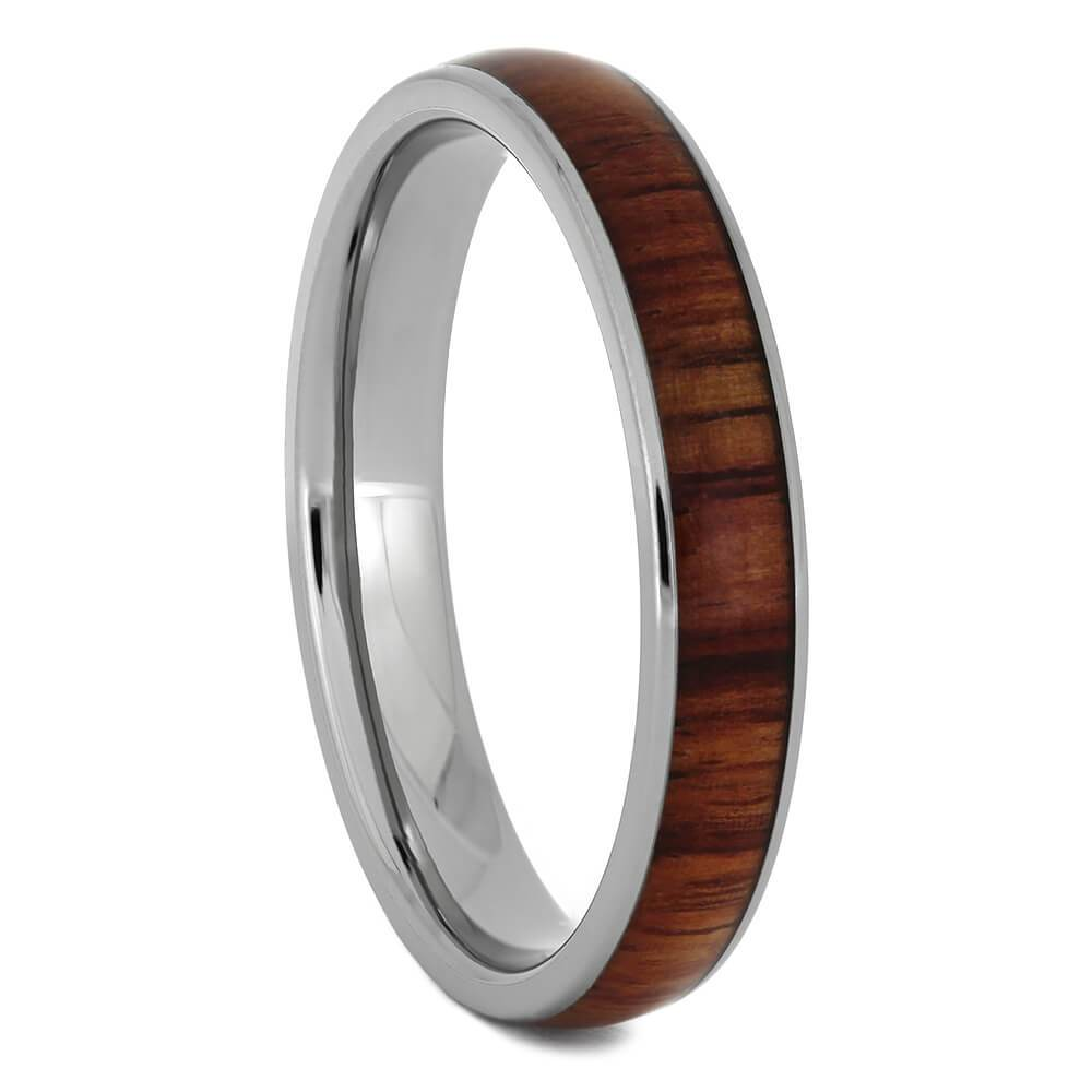 Titanium Ring with Tulipwood Inlay, Women's Wooden Wedding Band-1735 - Jewelry by Johan