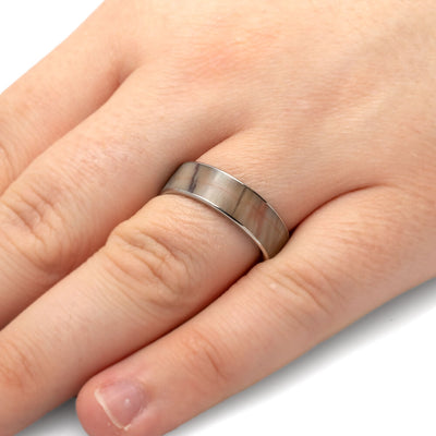 Petrified Wood Ring in Titanium, Wooden Wedding Band-1741 - Jewelry by Johan