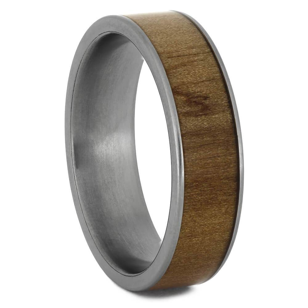 Rowan Wood Ring on Titanium Sleeve, Good Luck Ring-1743 - Jewelry by Johan