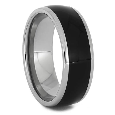 Titanium and Ebony Wood Wedding Band