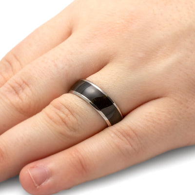 Ebony Wood Ring in Titanium Band, Waterproofing Included-1744 - Jewelry by Johan