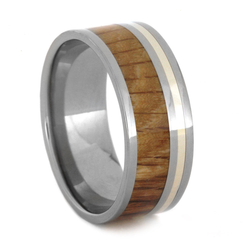 Oak Wood Men's Ring in Titanium Band with White Gold Pinstripe, Size 13.75-RS8941 - Jewelry by Johan