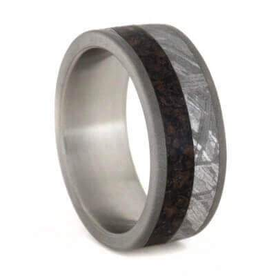 Meteorite Dinosaur Ring With Sandblasted Titanium Edges-1764 - Jewelry by Johan