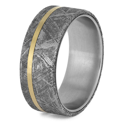 Men's Meteorite Wedding Band with Titanium Sleeve