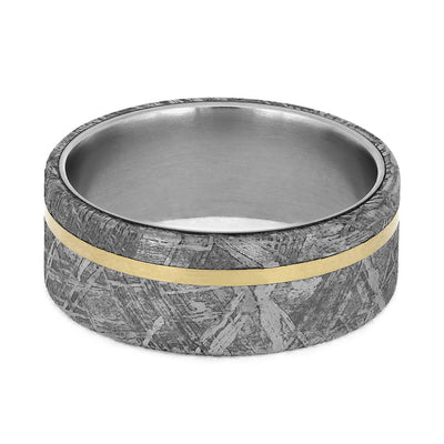 Men's Wedding Band with Meteorite Edges