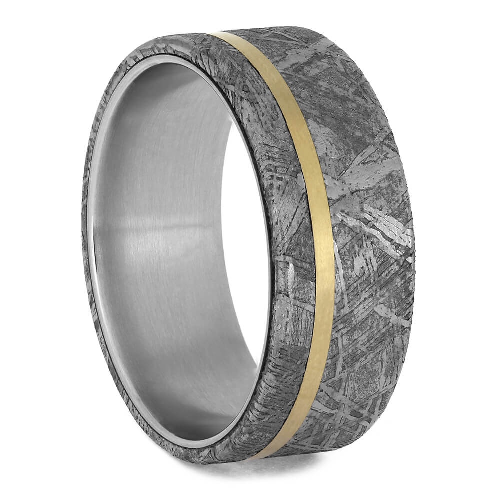 Meteorite Ring with Yellow Gold Pinstripe on Titanium Band-1767 - Jewelry by Johan