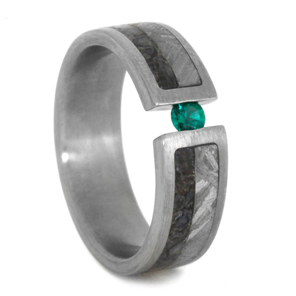 Tsavorite Garnet Wedding Ring, Meteorite Ring With Dinosaur Bone