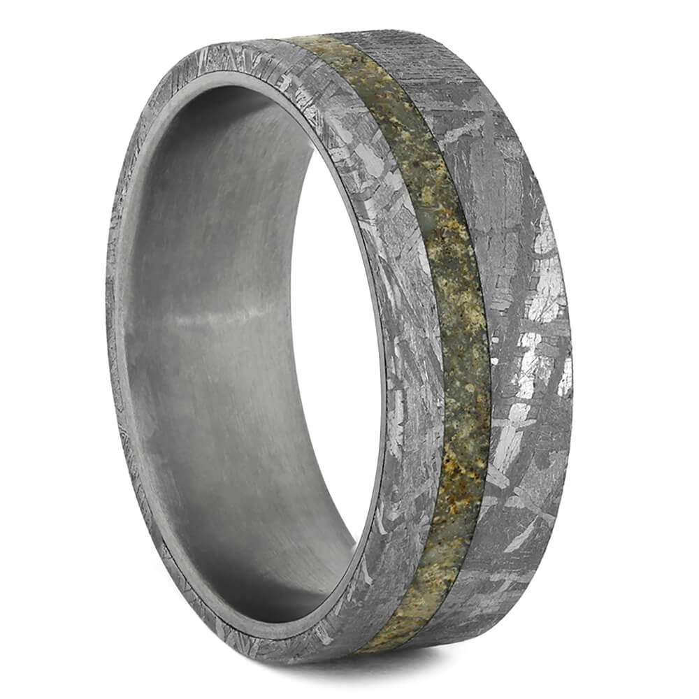 Meteorite Wedding Band Ring with Dinosaur Bone and Titanium-1783 - Jewelry by Johan