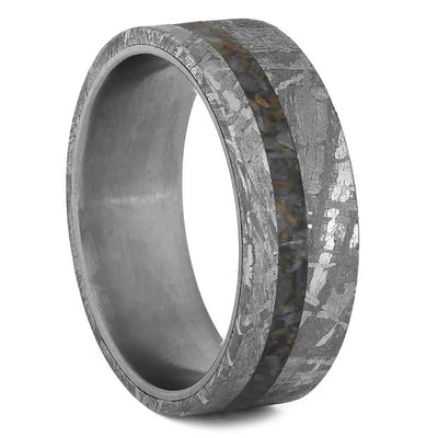 Crushed Fossil Ring with Meteorite