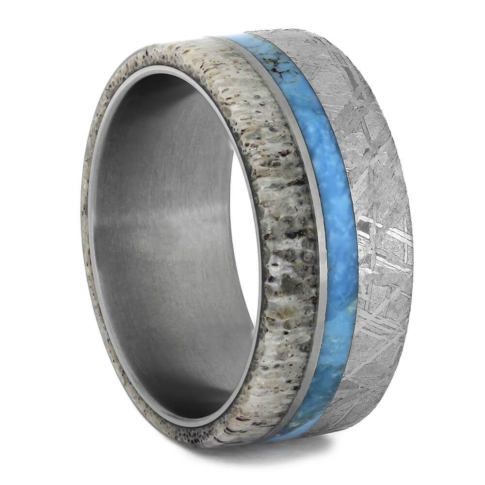 Men's Turquoise Wedding Band With Meteorite and Antler-1798 - Jewelry by Johan