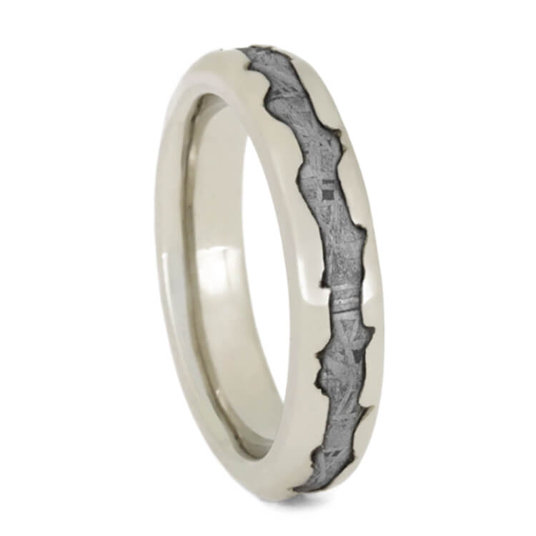 Wavy White Gold Meteorite Wedding Band