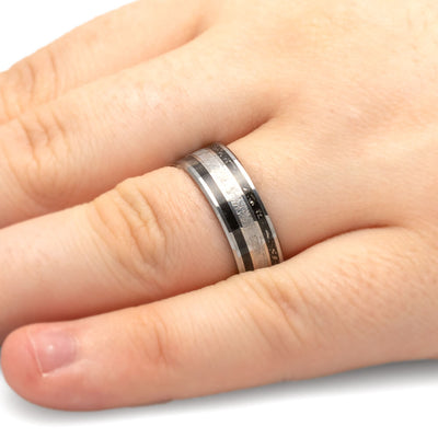 Men's Tungsten Wedding Band with Stardust™, Meteorite and Wood-1809 - Jewelry by Johan