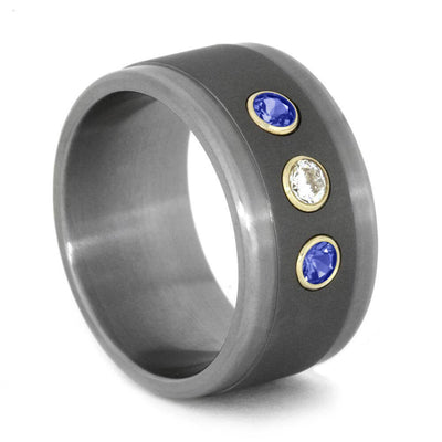 Titanium Ring with Diamond and Blue Sapphires Set in Yellow Gold-1814 - Jewelry by Johan