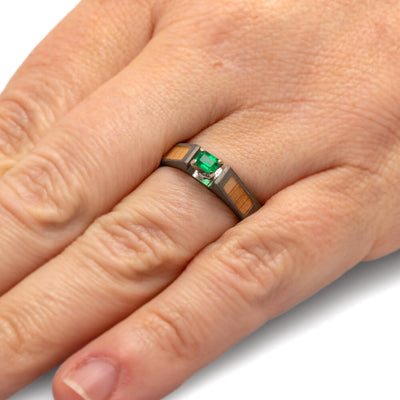 Emerald Ring with Oak Wood Panels and a Sandblasted Titanium-1836 - Jewelry by Johan