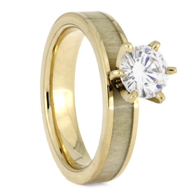 Aspen Wood Wedding Ring Set, Yellow Gold Moissanite Engagement With  Meteorite Wedding Band 2419