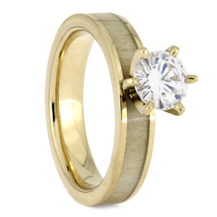 Aspen Wood Wedding Ring Set Yellow Gold Moissanite Engagement With