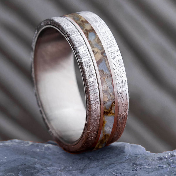 Bentwood Ring Dinosaur Bone with Silver on Macassar Ebony anniversary Non-Metal ring engagement