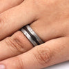 Dinosaur Bone Ring With Meteorite Edges Separated By Titanium-1855 - Jewelry by Johan