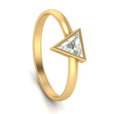 Triangle Diamond Engagement Ring, 10k Yellow Gold Dainty Ring-3510