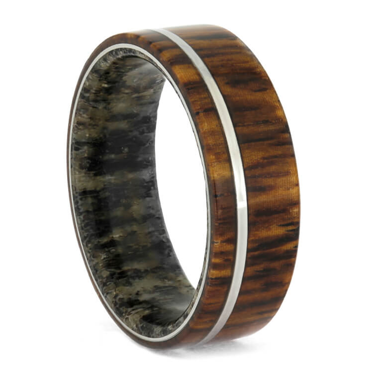 Deer Antler and Honduran Rosewood Ring With Pinstripe-3688 - Jewelry by Johan