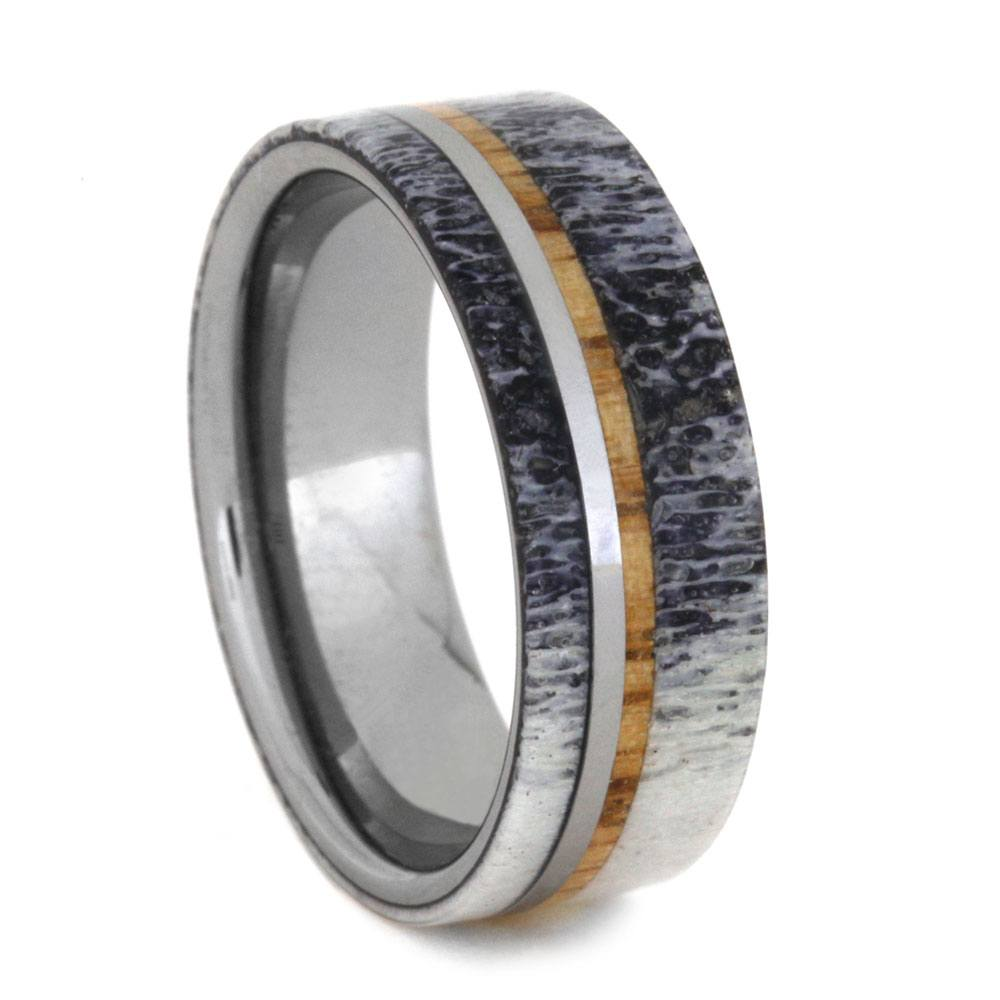 Deer Antler Ring with Oak Wood on Tungsten Band, Size 11-RS8979 - Jewelry by Johan