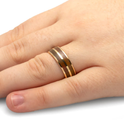 Yellow Gold Ring with Genuine Dinosaur Bone Inlays-1901 - Jewelry by Johan
