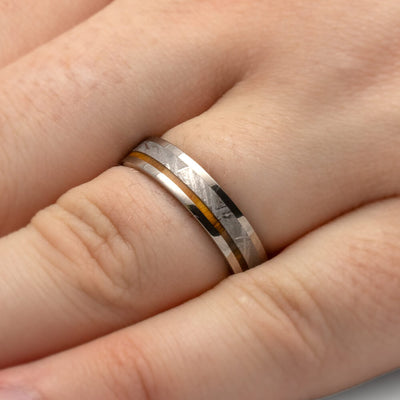 Titanium Wedding Band With Meteorite And Lignum Vitae Wood-1918 - Jewelry by Johan