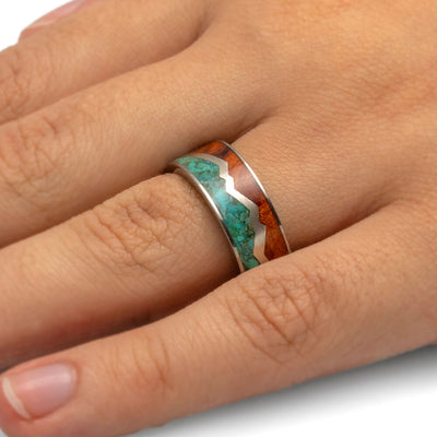 Turquoise Ring With Redwood and Silver Zig Zag in Titanium-1928 - Jewelry by Johan