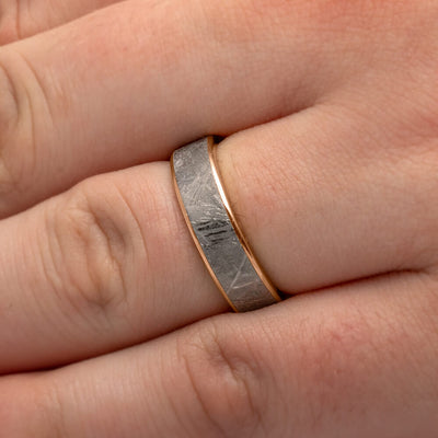 Meteorite Ring with Rose Gold Edges, Unique Men's Wedding Band-1946 - Jewelry by Johan
