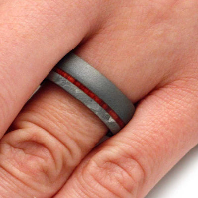 Wood Wedding Band With Sandblasted Titanium And Meteorite-3141 - Jewelry by Johan