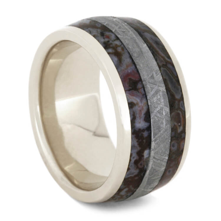Dinosaur Bone Men's Wedding Band, Meteorite Ring in White Gold-2441 - Jewelry by Johan