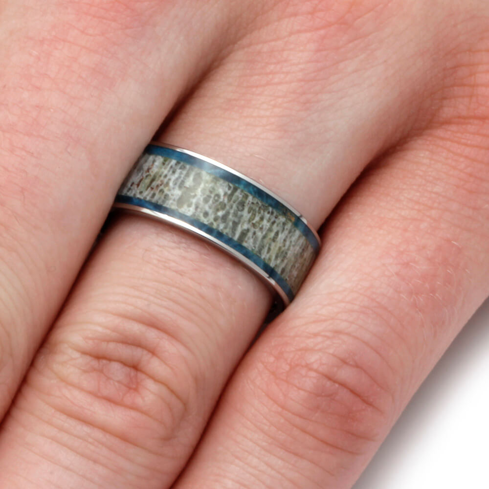 Deer Antler Wedding Band With Blue Box Elder Burl - Jewelry by Johan