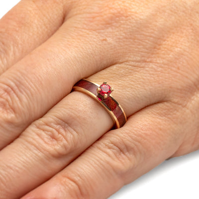 Ruby Engagement Ring with Ruby Redwood Inlay-1995 - Jewelry by Johan