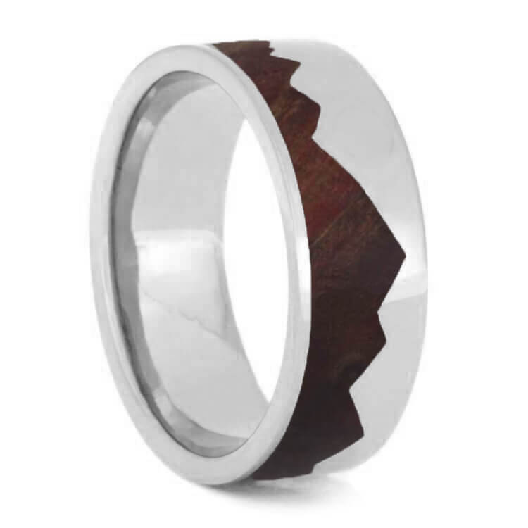 Mountain Ring with Natural Redwood, Sterling Silver Wedding Band-1998 - Jewelry by Johan