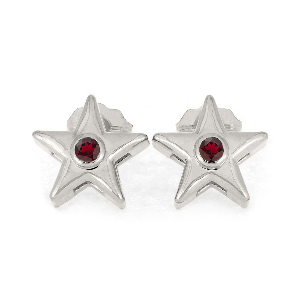 White Gold Star Earrings With Garnet